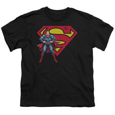 DC Comics Superman & Shield Logo Black Youth T-Shirt - (Small)