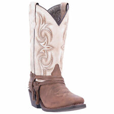Laredo Womens Sand/White Cowboy Boots Leather Cowboy Boots Square Toe
