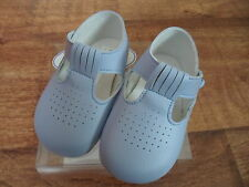 Baby Boys Baypods T Bar Hole Punched Soft Pram Shoes in Sky Blue,Navy or White