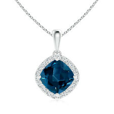 Cushion London Blue Topaz Diamond Halo Pendant Necklace 14k White Gold