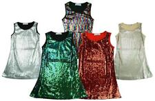 Girls Dress Plain Sequin Front Metallic Sparkly Party Shimmer Disco 3 - 12 Years