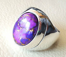 SOLID 925 STERLING SILVER COPPER PURPLE TURQUOISE GEMSTONE MENS RING SIZE 7-12