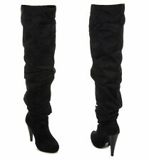 New Women's Over The Knee Thigh High Slouchy Ruching Heel Boots In BLACK