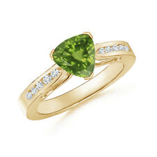 Trillion Cut Peridot Solitaire Ring with Diamond Accents 14K Yellow Gold