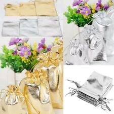50pcs Shiny Organza Bag Drawstring Jewelry Pouch Gift Bag 3 Size Christmas Gift