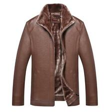 Mens Motorcycle Jacket Slim Fit Fur Lined Business Coat Outwear Parka Trench New