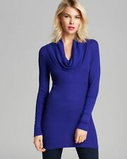 NWT SPLENDID XS, S, M Long Sleeve Thermal Cowl Neck Tunic Knit Top Cobalt Blue