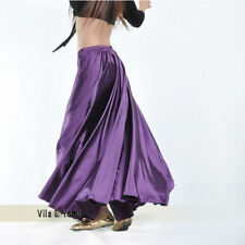 360 Full Circle Satin Skirt Belly Dance Costume Tribal Practice Long Swing Skirt