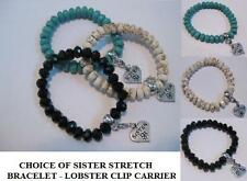 SISTER CHARM CARRIER STRETCH BRACELET - CHOICE OF BLACK, BLUE/SPIDER WHITE
