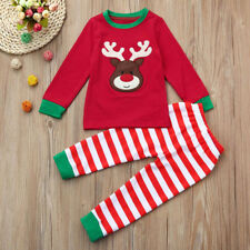 Christmas Kids Toddler Baby Girls Boys Deer Tops Stripe Pants Outfit Set Newest