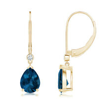 Pear Shaped London Blue Topaz Diamond Drop Earrings 14k Yellow Gold