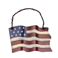 Primitive Metal American Flag Wall Art Decor July 4th Memorial Day Door Decor