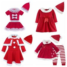 Baby Girls Velvet Christmas Santa Claus Costume Bowknot Dress Hat Set Dulcet