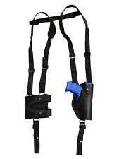 NEW Black Leather Vertical Shoulder Holster w/ Dbl Mag Pouch Springfield Compact