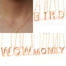 Fad Women Gold Plated Initial Alphabet Letter Pendant Chain Necklace Jewelry、Pop