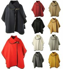 Women Ladies Italian Lagenlook Cape Faux Wool Buckle Collar Poncho Jacket Shawl