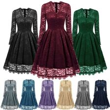 AU Womens Vintage V Neck Lace 1950s Rockabilly Retro Cocktail Party Swing Dress