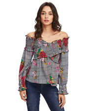 Gamiss Women Off Shoulder Long Sleeves Plaid And Floral Print Tops Blouse shirts