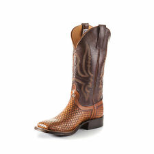 Anderson Bean Mens Brown Raven Leather Wheat Weave Cowboy Boots