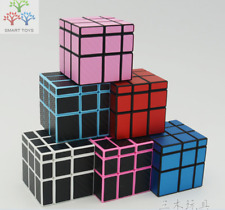3X3X3 Mirror Magic Cube With Checkered Carbon Fiber Speed Cube Puzzle 3Colors
