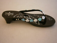 SAKINAS SHANAZ BLACK LACQUER SHOES SANDALS MOTHER OF PEARL INLAY BLUE FLOWERS