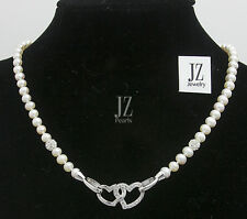 Freshwater Bridal Pearl Necklace, Bracelet with Double Crystal S/Silver Heart.