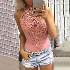 Women Girls Solid Lace Splicing Hollow Out Sleeveless Sexy Tops Tank Top