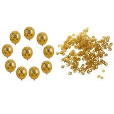 10 Gold Latex Balloons & Glitter 30/40/50 Confetti Birthday Party Decoration