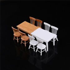 1:12 Wooden Kitchen Dining Table With 4 Chairs Set Barbie Dollhouse FurnitureF&F