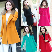 Winter Women's Casual Warm Fur Collar Parka Coat Woolen Coat Outwear Overcoat