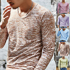 Fashion Men Casual Slim Fit Long Sleeve V-neck T-shirts Tee Shirt Tops Pullover