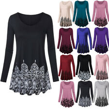 NEW Womens Ladies Long Sleeve Print Pullover Tops T Shirt Blouse Tee Plus Size