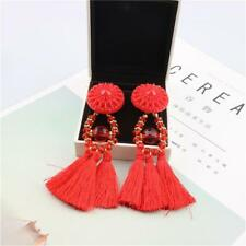 Bohemian Style Earrings Acrylic Beads Tassel Fringe Dangle Charms Jewelry