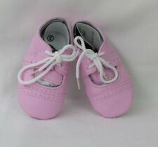 Cute Pink Faux Lace-up Leather Baby Girl Soft Sole Party Crib Shoes Pre-Walkers