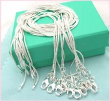 Free shipping wholesale 5PCS sterling solid silver 1MM snake chain Q#