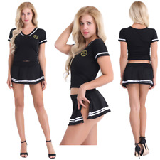 Sexy Women Lingerie Cheerleader Uniform Mini Skirt G-string Cosplay Fancy Dress