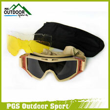 Paintball CS Military Tactical SWAT Goggle Eyewear Eye Protection 3 Lens