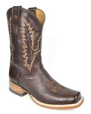 Gavel Mens Stockman Square Toe Smooth Ostrich Handmade Cowboy Western Boots Brn