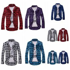 Mens Long Sleeve Shirts Chequered Button Front Slim Fit Tops Stylish Blouse