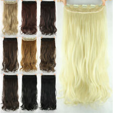 """Women Girl Clip in on Hair extensions Synthetic Curly Long 23"""" 60cm Stylish 18ah"""