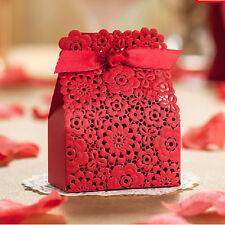 10/25/50/100 X Wedding Favours Sweets Candy Gift Boxes Table Decor - Red Lace
