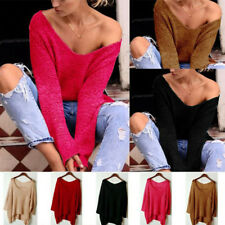 Women V Neck Long Sleeve Loose Cardigan Knitted Sweater Jumper Knitwear Outwear