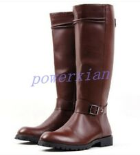 Riding Mens Military Punk Buckle Faux Leather Knee High Equestrian Boots Shoes 9