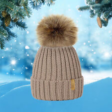 Winter Warm Hat Women Bobble 1Pcs Knitted Beanie Fashion Hot Ladies Faux Fur Cap