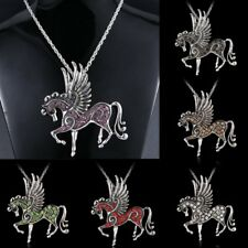 Fashion Silver Lucky Jewelry Necklace Pendant Pegasus Crystal Sweater Chain Gift
