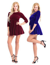 Women Long Sleeve Velvet Evening Cocktail Party Skater Pleated Short Mini Dress