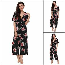 Women Jumpsuit Floral Chiffon Deep V Neck Strappy Fit Playsuit Romper Evening