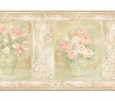 Wallquest Painted Paradise PI21955B Potted Rose Wallpaper Border, Pink