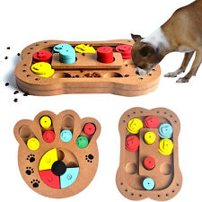 Pet Dog Wooden Game IQ Training Toy Interactive Food Dispensing Puzzle Plate New