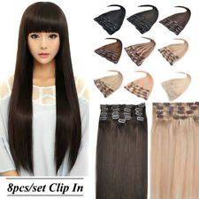20'' 22'' 8Pcs 100g Any Colors Remy Clip In Human Hair Extensions Full Head Set
